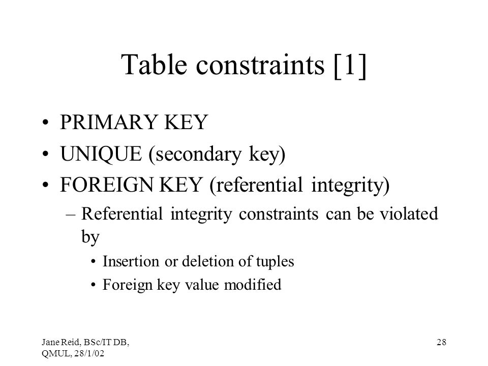 Table constraints [1] PRIMARY KEY UNIQUE (secondary key)